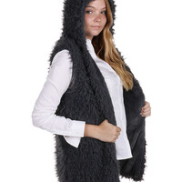 Grey Soft Fur Hooded Vest