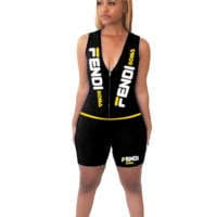 FENDI Summer Womens Sexy FF Letter Print Sleeveless Jumpsuit W8017