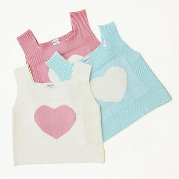 Cute Knitting Heart Pattern Sleeveless Vest For Kids Girls
