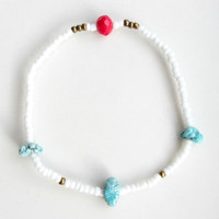Nanuq |  Turquoise Bracelet, White and Turquoise, Turquoise and Coral Red, Gift for Her, Beaded Bracelet, Stretch Bracelet