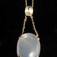 18CT AND 14CT STUNNING MOONSTONE YELLOW ROSE CUT DIAMOND NECKLACE LAVALIERE- MC