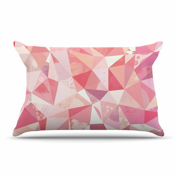 "Nic Squirrell ""Crumpled"" Pink,Geometric Pillow Sham"