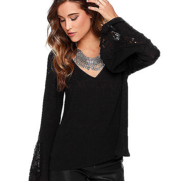 V-Neck Horn Sleeves Lace Embroidered Top
