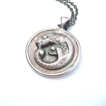 Celtic dragon medieval pendant, made from mold of vintage button from pure bronze