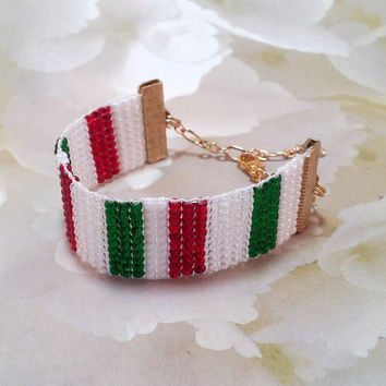 Bracelet Loom Beaded Italy Flag, Italian, Women and Teen's bracelet, Fashion Bracelet, Beaded Jewelry, Handmade jewelry, Gold Bracelet, Teen