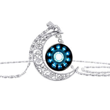 movie jewelry silver Moon necklace Iron Man Arc Reactor cabochon glass pendant Art picture Gothic  choker Necklaces  S14