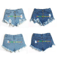 Vintage High Waist Jeans Hole Short Jeans Denim Shorts black white dark blue color