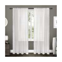 Sheer Pom Pom Curtain Panels Pair Exclusive Home
