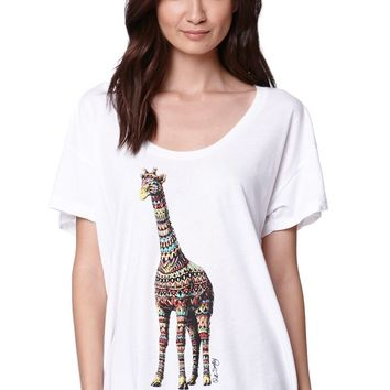 Riot Society Ornate Giraffe Boyfriend T-Shirt - Womens Tee - White