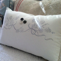 Stamped vintage linen flower ribbon pillow, shabby chic pillow, flower and bows white and black pillow