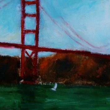Golden Gate Bridge - San Francisco - Original Oil Painting - Sailboat - Ocean Landscape - Home Decor - 6 3/4 x 4 5/8 Prepared Wood Panel