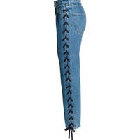 Straight Lace-up Ankle Jeans - from H&M
