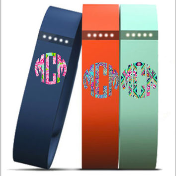 Lilly Pulitzer Fitbit Circle Monogram | Lilly Inspired Fitbit  Decal | Fitbit Monogram  | Lilly Monogram | Lilly Pattern Car Decal
