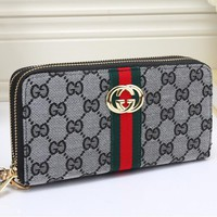 """Gucci"" Women Purse Fashion Multicolo Stripe Double G Print Long Section Double Zip Wallet Handbag"