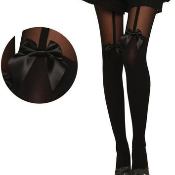 Spring Summer New Sexy Black Lace Silk Stockings Pantyhose Tattoo Mock Bow Suspender Sheer Tights CC0151