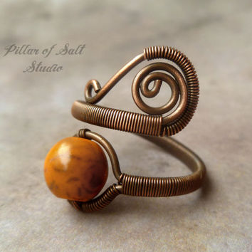 Orange Boho ring, Adjustable, Copper Wire Wrapped Ring, wire wrapped jewelry handmade, copper jewelry, orange howlite ring, earthy jewelry