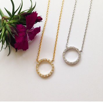 1 Crystal Circle Necklace #L17