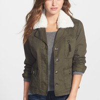 Faux Shearling Collar Cotton Twill Jacket
