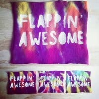 Flappin' Awesome: tie-dye autistic self advocacy punk patch