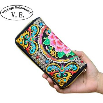 Vintage Embroidery Wallet Women Wallet National Double Faced Embroidered Long Canvas Zipper Coin Bag Small Purse Card Holder