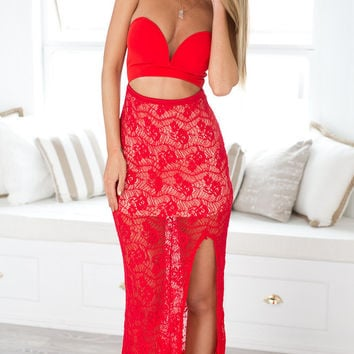 REAL PHOTOS Red Lace Long Dress Women Sexy Cut Out Strapless Slit Branco Cropped vestido de festa feminino ukraine Maxi Dresses