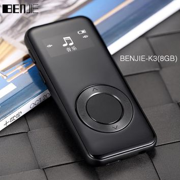 Original BENJIE K3 Alloy mp3 music player Lossless HiFi MP3 player 8GB mini Portable Audio Player FM Radio Ebook Voice Recorder