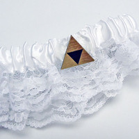 Tri force Zelda gold or silver wedding garter belt in gift box