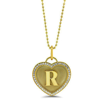 Personalized Initial Diamond Heart Necklace