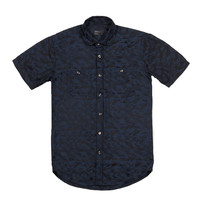 Cloud Camo Short Sleeve Button Down Navy