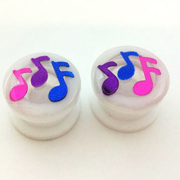 Music note plugs / 0g, 00g, 1/2, 9/16, 5/8 inch / music jewelry / white plugs / music note gauges / unique plugs / screw on