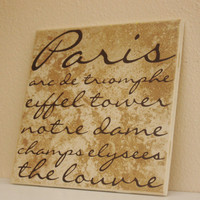 Word Art Paris Themed Decorative Tile  Word by TheBeautifulHome