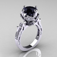 Modern Antique 10K White Gold 3.0 Carat Black and White Diamond Solitaire Wedding Ring R214-10KWGDBD