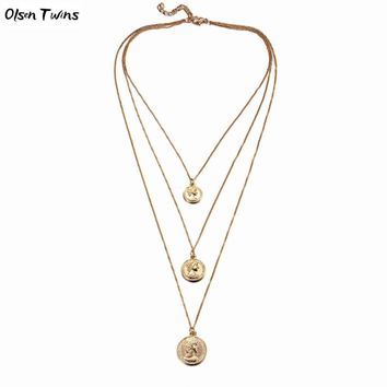 Olsen Twins Cheap Wholesale Long 3 Layers Coin Charm Link Chain Necklaces for Dropshipping 2018