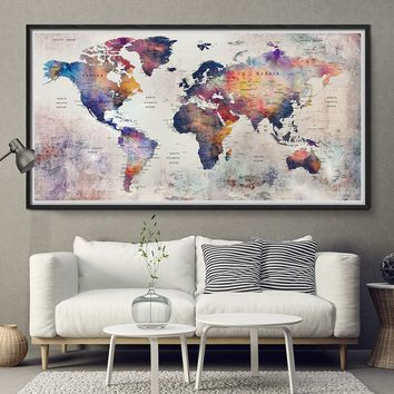 World Map Poster Watercolor Floral - Travel World Map - Gift Idea - L159