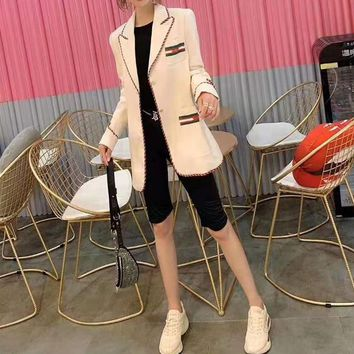 Women Clothes Edgy Fashion All-match Casual Simple Cool Long Sleeve Buttons Lapel Suit Cardigan
