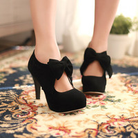Suede Bow Stiletto Heel Round Toe Elegant Vintage Pumps
