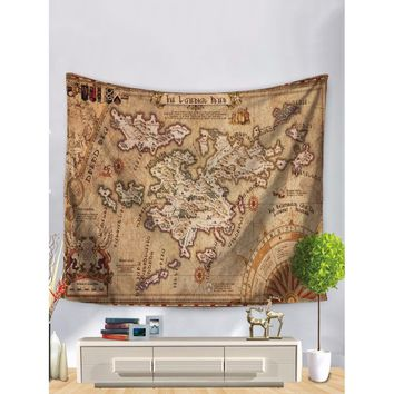 World Map Print Tapestry