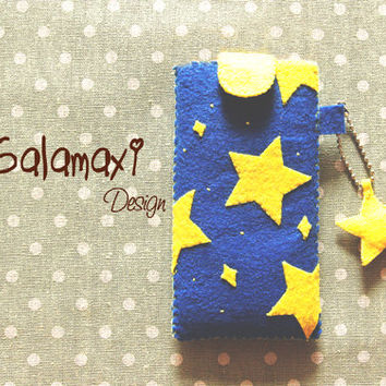 Handmade Starry Phone Cozy Sleeve Cover, Handmade Felt Fabric iPhone 4/4S/5/5S/5C Pouch Case/Starry Starry Night Phone Sleeve Case