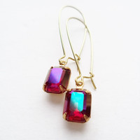Vintage Earrings Glass Dangles Purple Red Aurora Borealis Accessories Gift Idea For Her Stocking Stuffer Under 15