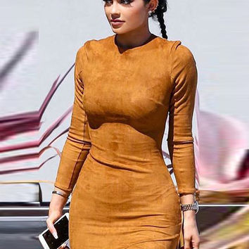 Brown Long Sleeve Bodycon Mini Dress