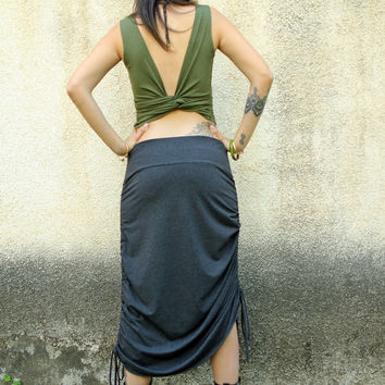 Backless Wrap Top, Open back bohemian top, Green tank top