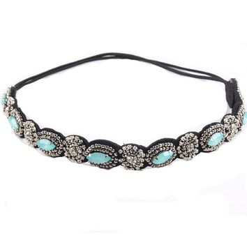 Vintage Bohemian Ethnic Turquoise Metal Beads Flower Crystal Rhinestone Handmade Elastic Headband Hair Band Hair Accessories