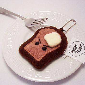 Breakfast Food Keychain Plushie Stuffed Toy: Angry Toast, Surprised Bacon, French Toast, Love Bread or Shy Apple