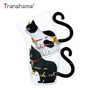 Transhome Cat Glass Mug 250ml High Quality New Fashion Creative Lovely Cat Glass Mug Tea Milk Coffee Cup With Tail Handle Travel