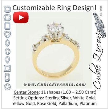 Cubic Zirconia Engagement Ring- The Cathy (Customizable 5-Stone with Braided Two-Tone Accents)