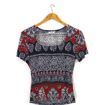 Blue Red White Bandana Paisley Abstract Print Crop Top Size Sm/Med