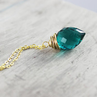 Teal Blue Necklace, Gold Fill Necklace, Wire Wrap Necklace, Turquoise Green Gemstone, Aqua Blue Necklace, Pendant Necklace, Quartz Necklace