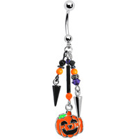 Spike Dangle Pumpkin Drop Halloween Belly Ring MADE WITH SWAROVSKI ELEMENTS | Body Candy Body Jewelry