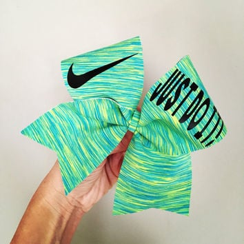 Just Do It Spandex Cheer bow green Blue Yellow swoosh