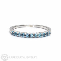 14K Blue Topaz Ring Anniversary Band Half Eternity Band Stackable Ring Custom Birthstone Ring December Birthstone